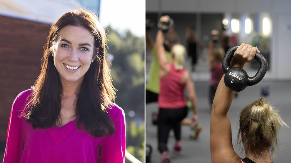 """Delad bild: Först på personliga tränaren och hälsoprofilen Sofia Ståhl, även kallad """"PT-Fia"""", samt en bild på två kvinnor som tränar."""