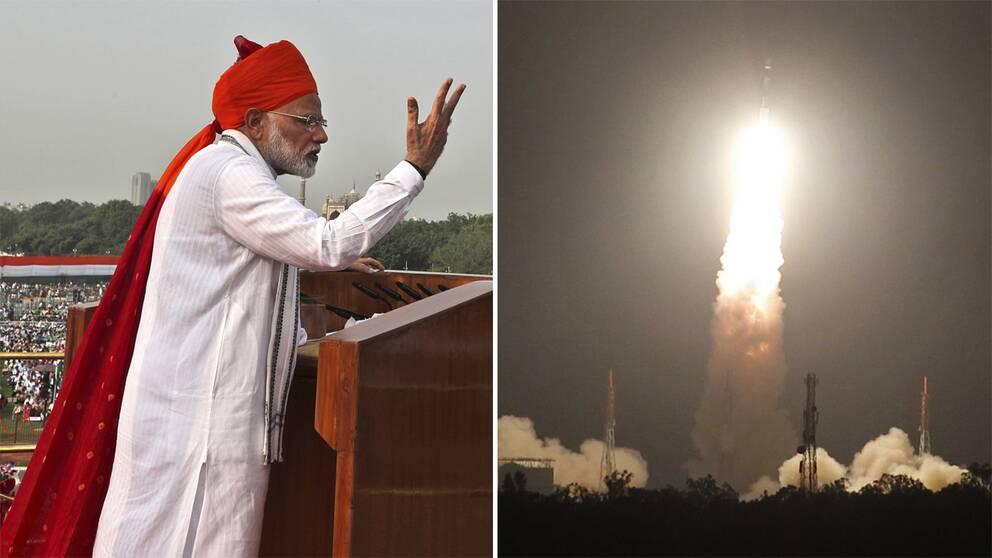 Indiens premiärminister Narendra Modi och en satellituppskjutning i Indien 2017.