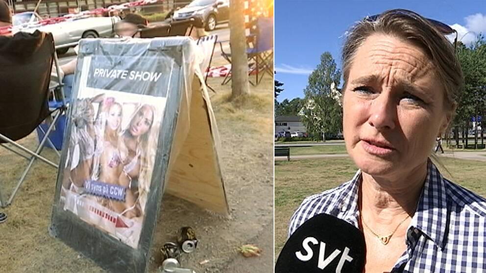 En bild på affisch med lättklädda tjejer till vänster och rättviks kommunalråd till höger i bild