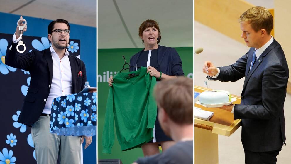 Jimmie Åkesson, Åsa Romson och Gustav Fridolin har alla använt sig av prylar för att förstärka sina budskap.