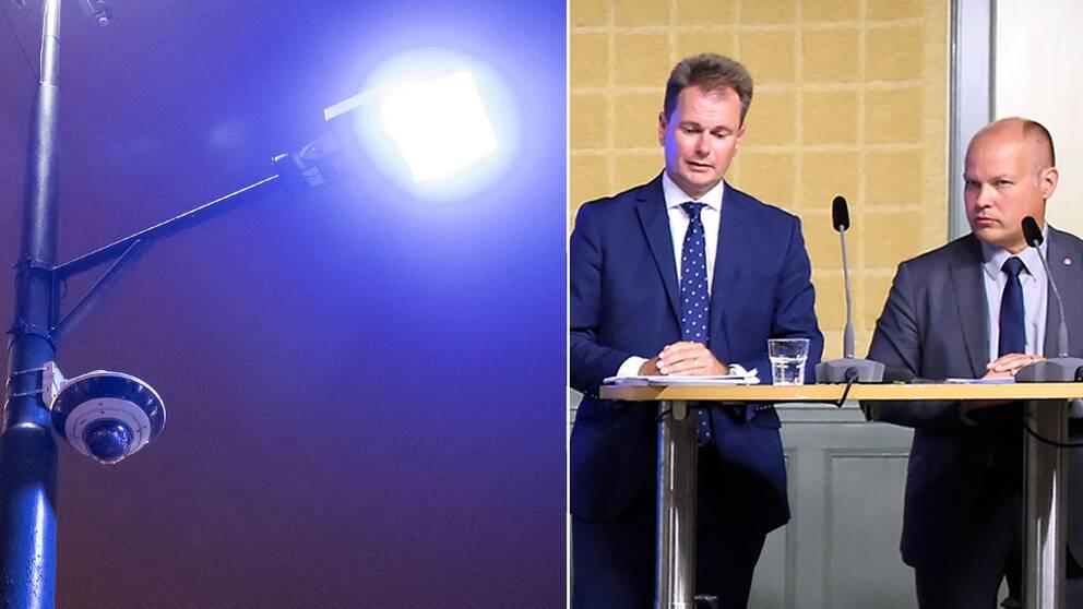 Övervakningskamera samt Morgan Johansson (S) och den särskilda utredaren Johan Sjöö som presenterar delbetänkandet Kamerabevakning i brottsbekämpningen under en pressträff i Rosenbad.