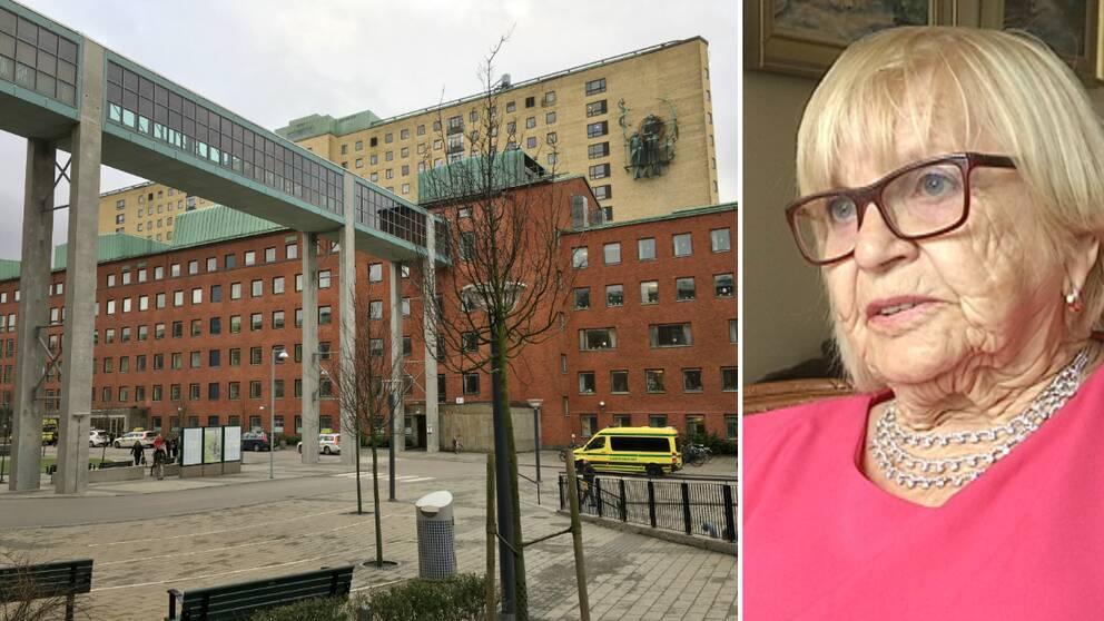 dubbelbild: sahlgrenskas sjukhusbyggnad och porträtt på kvinna med glasögon