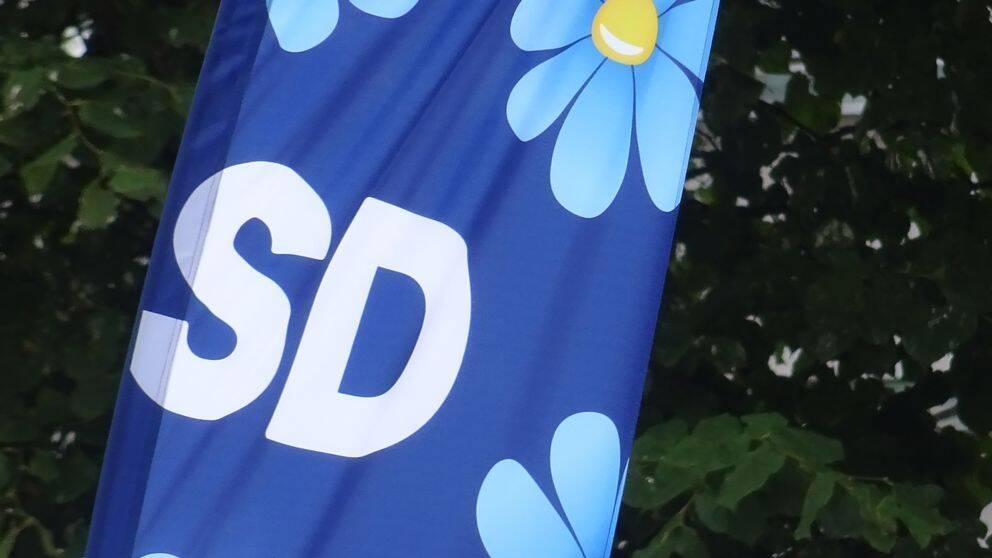 Sverigedemokraternas logotype på flagga