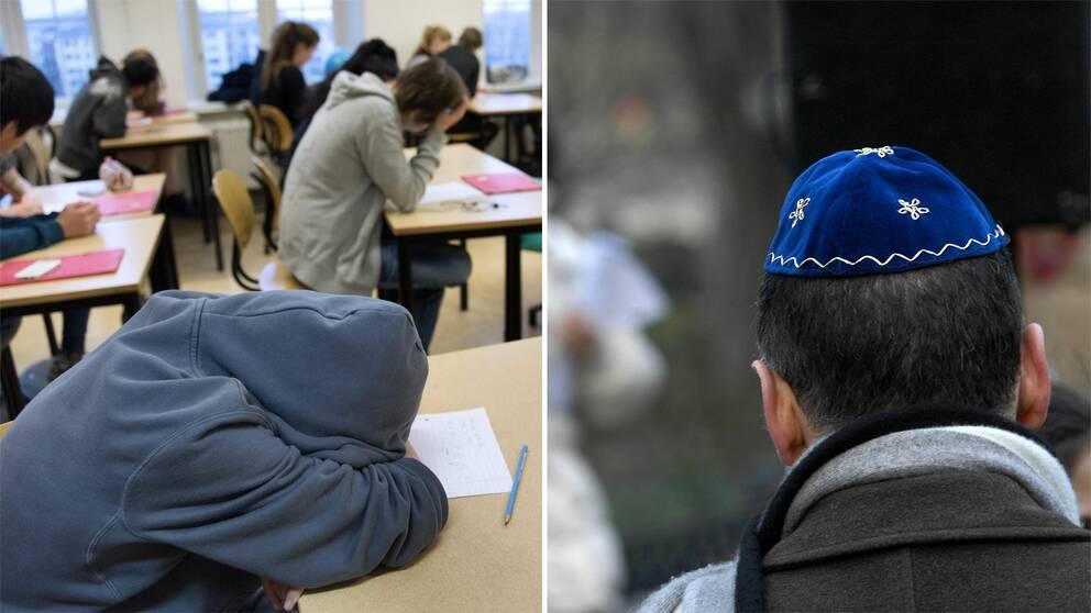Foto på ett klassrum med en elev som vilar på en bänk samt ett foto på en man som bär en judisk huvudbonad