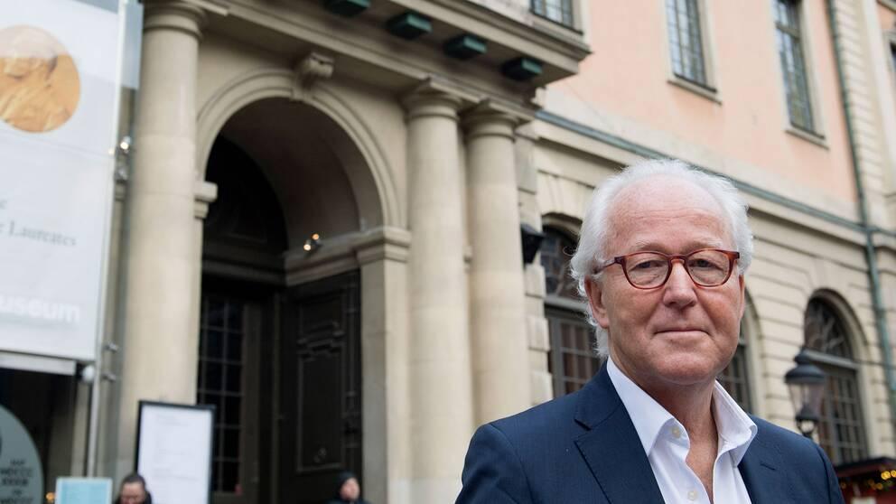 Nobelstiftelsens vd Lars Heikensten vid börshuset i Gamla stan, Stockholm.