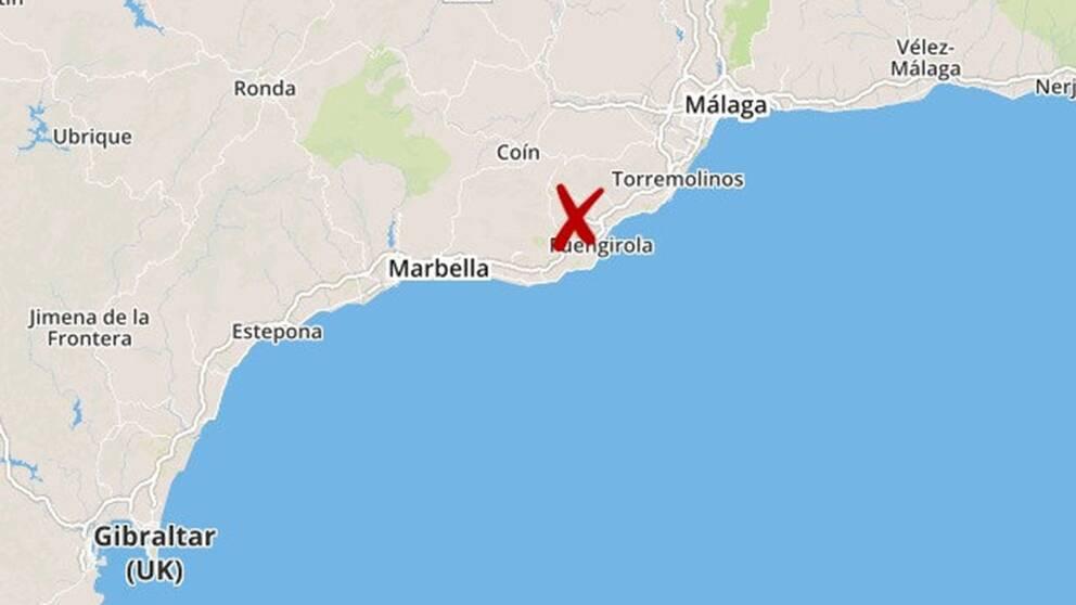 Mordet ska ha skett i staden Mijas utanför Malaga på spanska solkusten.