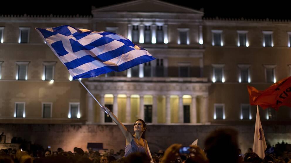 Protester på Syntagmatorget när Grekland tvingades till tuffa sparprogram för att få låna pengar. Arkivbild från 2015.
