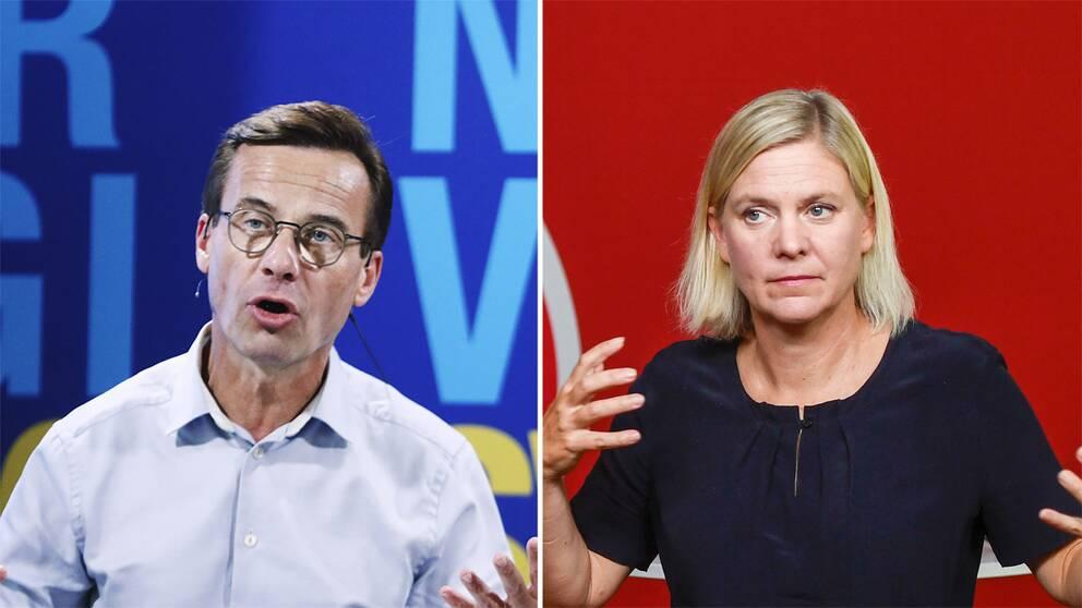 Ulf Kristersson till vänster och Magdalena Andersson till höger