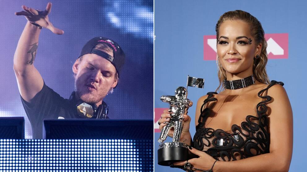 """Delad bild: Först en på Tim """"Avicii"""" Bergling och sedan en bild på sångaren Rita Ora."""
