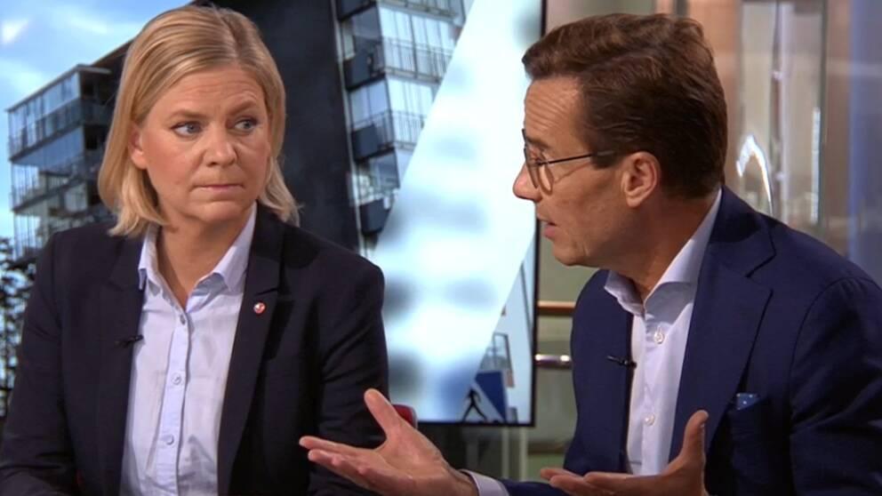 Magdalena Andersson (S) och Ulf Kristersson (M) debatterar i SVT:s Morgonstudion.