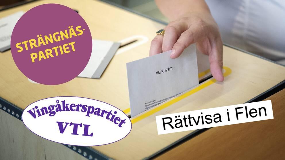 Tre logotyper (Strängnäspartiet, Vingåkerspartiet och Rättvisa i Flen) samt en valurna som någon stoppar ett valkuvert i.