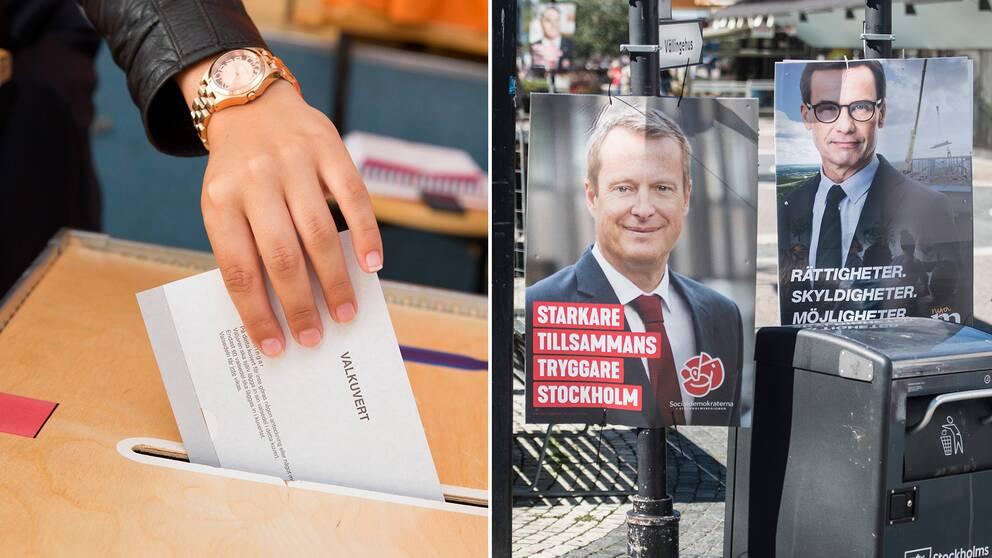 En person lägger ett valkuvert i en valurna samt valaffischer för Socialdemokraterna och Moderaterna.