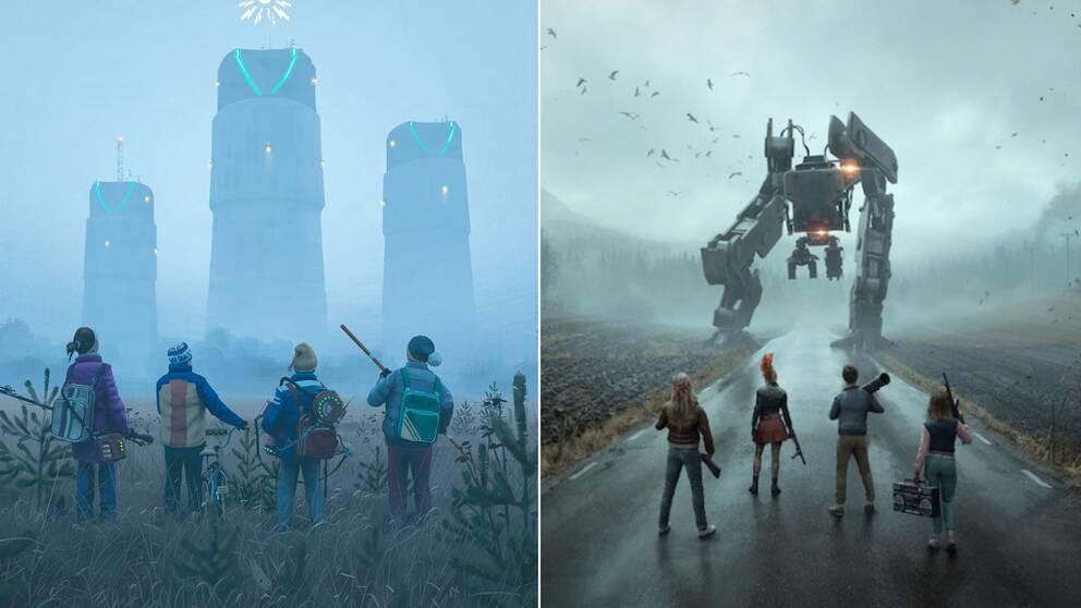 Omslaget till Simon Stålenhags rollspel Ur Varselklotet, och en bild från nya spelet Generation Zero.