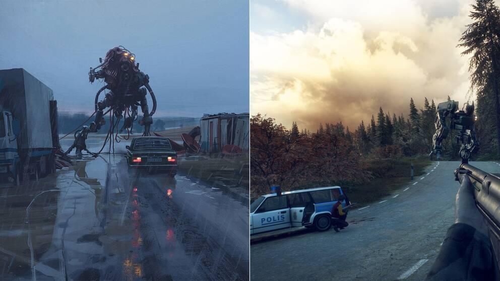 En bild ur Simon Stålenhags Ur varselklotet och en av maskinerna i Generation Zero.