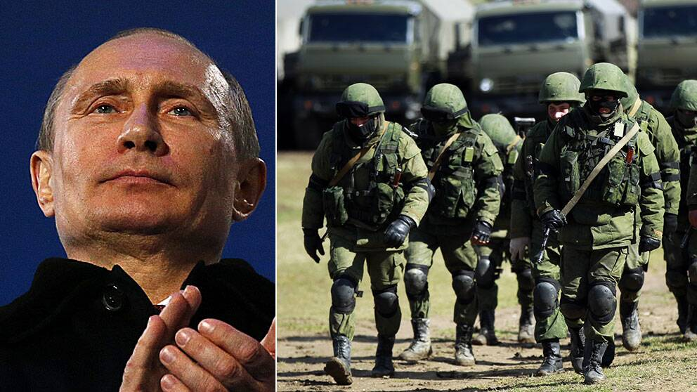 T.v. Rysslands president Vladimir Putin. T.h. Beväpnade män, troligtvis ryska soldater, marscherar vid sin bas i Simferopol.