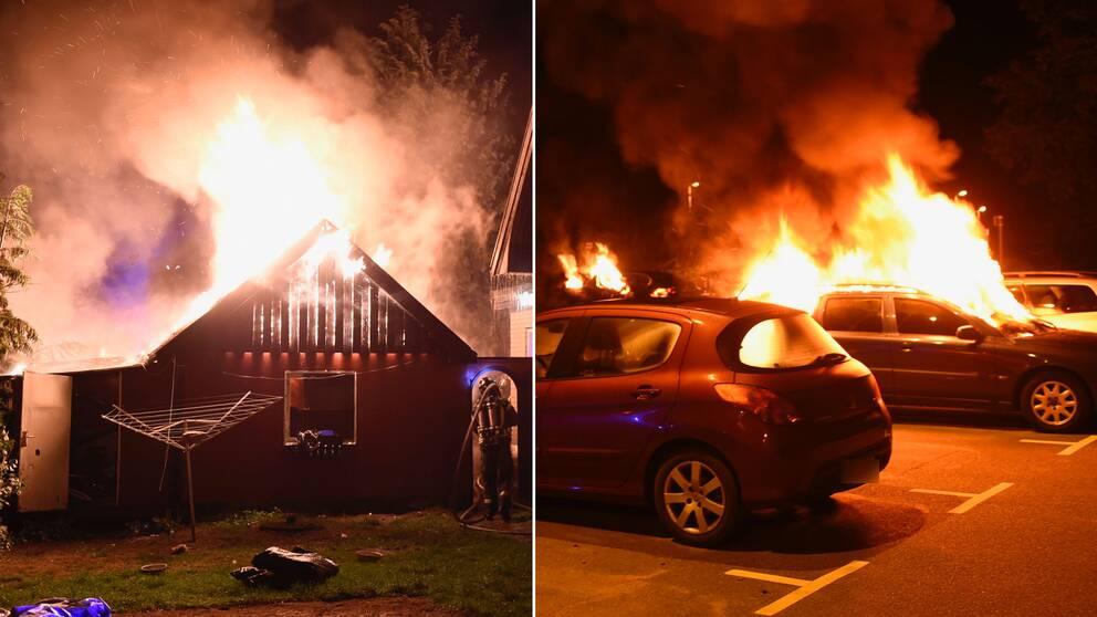 Kombination av en bild på garagebranden i Tollarp och en bild på bilbränder i centrala Kristianstad