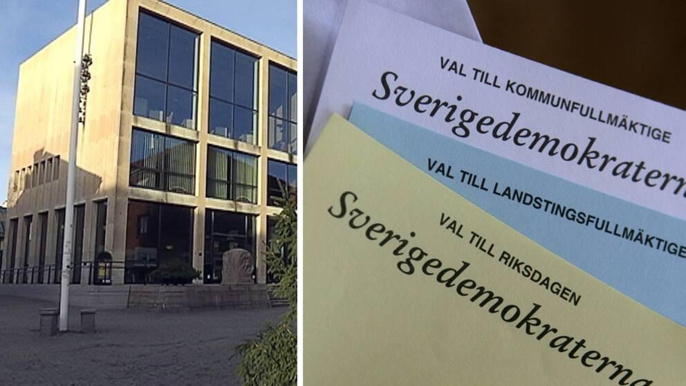 Falkenbergs stadshus och SDs valsedlar.