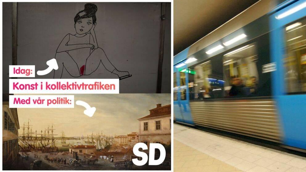 """På vänster bild syns en del ur Liv Strömquists bildserie """"The Night Garden"""" från Slussens tunnelbanestation samt Johan Sevenboms målning """"Utsikt från Brunnsbacken över Saltsjön"""". På höger bild syns en tunnelbana i Slussen."""