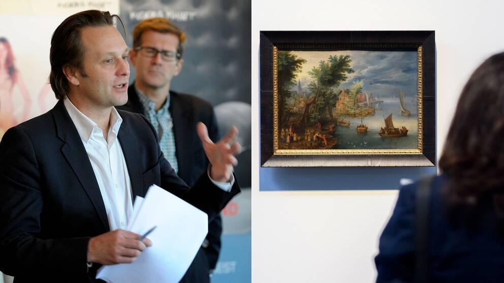 """Daniel Birnbaum, chef på Moderna museet. Till höger en bild från utställningen """"Gurlitt: Status Report Nazi Art Theft and Its Consequences""""."""