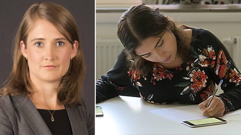 porträtt på en kvinna i kavaj, samt nära bild på en tjej som skriver