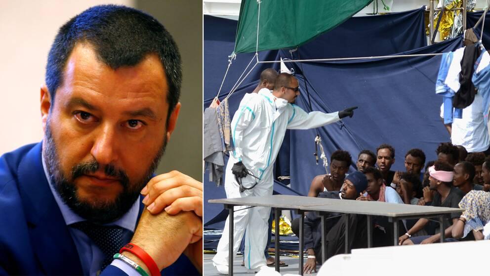 Italiens inrikesminister Matteo Salvini vägrade låta migranterna stiga av fartyget. Till höger italienska myndighetsanställda ombord på båten med migranterna tidigare i veckan.