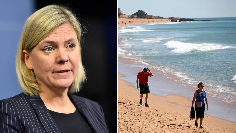 Delad bild: Först finansminister Magdalena Andersson (S), sedan en bild på människor som promenerar längs en strand i Albufeira i södra Portugal.