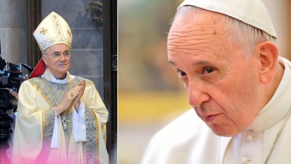 Till vänster ärkebiskop Carlo Maria Viganò som nu kräver påve Franciskus avgång.