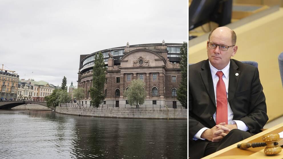 Riksdagshuset och talmannen Urban Ahlin (S).