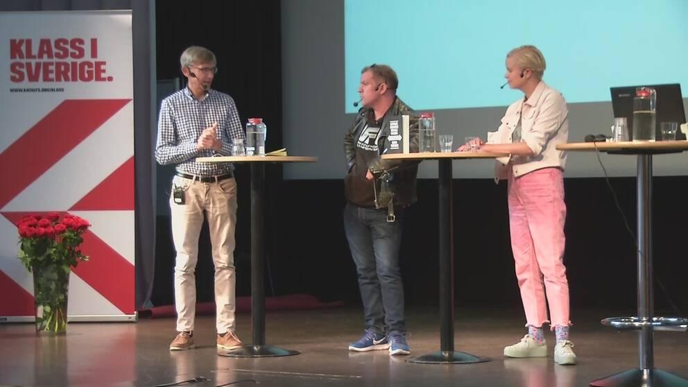 Per Svensson, Dagens Nyheter, Johan Ingerö, tankesmedjan Timbro och Karin Pihl, Expressen diskuterar klassamhället.