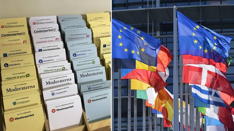 Valsedlar i Stockholm och flaggor utanför EU-parlamentet i Strasbourg.