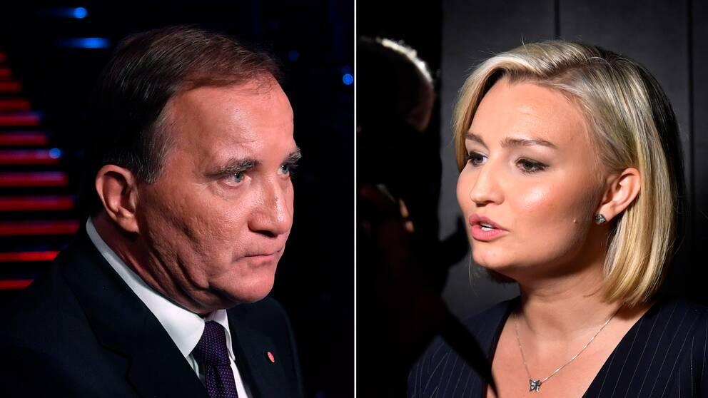 Stefan Löfven (S) och Ebba Busch Thor (KD) efter partiledardebatten på Aftonbladet.