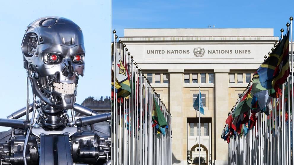 Till vänster roboten från filmen Terminator, som forskare tror att kan bli verklighet i framtiden. Till höger FN-byggnaden i Genève.