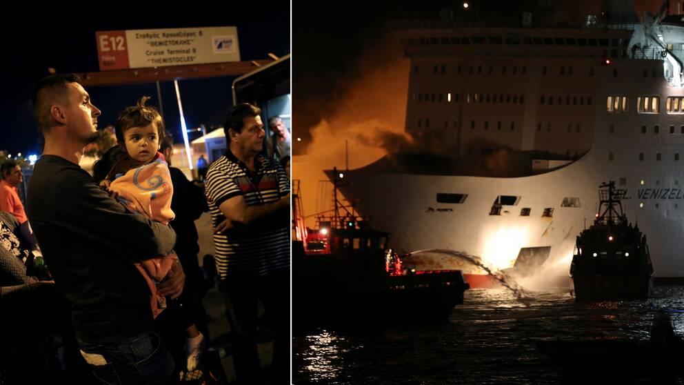 Räddningstjänsten som släcker branden från båtar och passagerare som väntar på att slussas vidare.