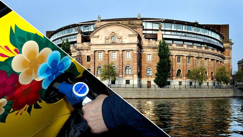Mindre än var tredje bil i riksdagen är en miljöbil visar SVT:s granskning.