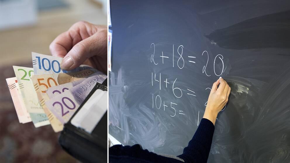 Genrebilder pengar och skola.