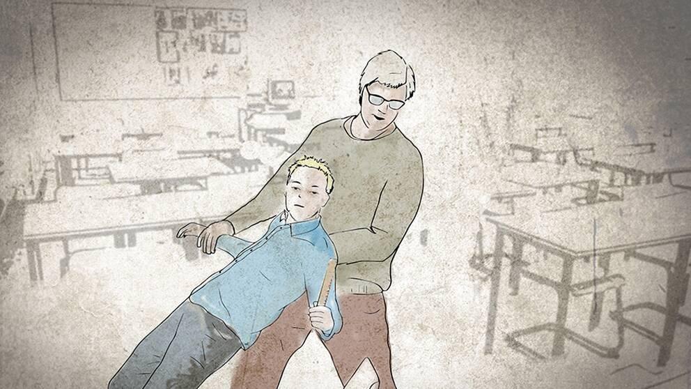 Teckning av lärare som släpade ut elev.
