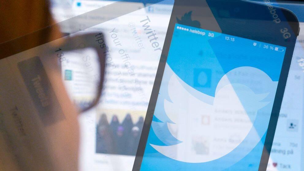 Bilder på skärmar med Twitter i ett kollage.
