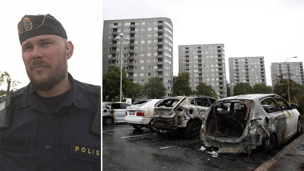 Polisen Henrik Jagerstål och bilar som brunnit