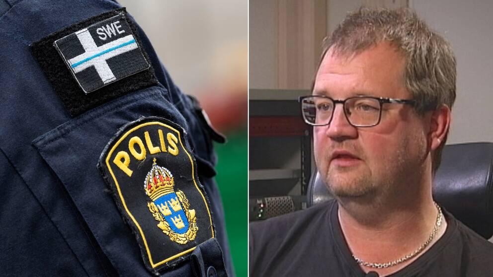 Närbild på polisuniform och bild på statsvetaren Thomas Widenstjerna.