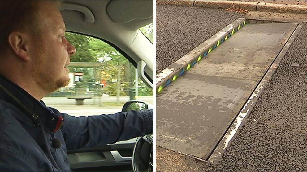 Kolla när kommunalrådet Henrik Lander (C) testkör fartgropen