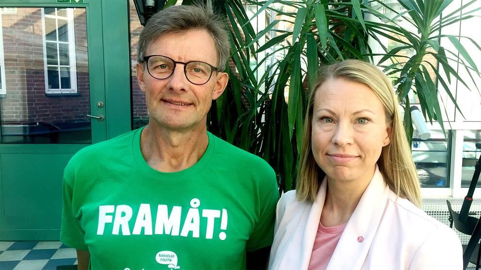 Rolf Jönsson (C) och Sara Rudolfsson (S) möttes i SVT:s valdebatt om S-dominansen i Olofström.