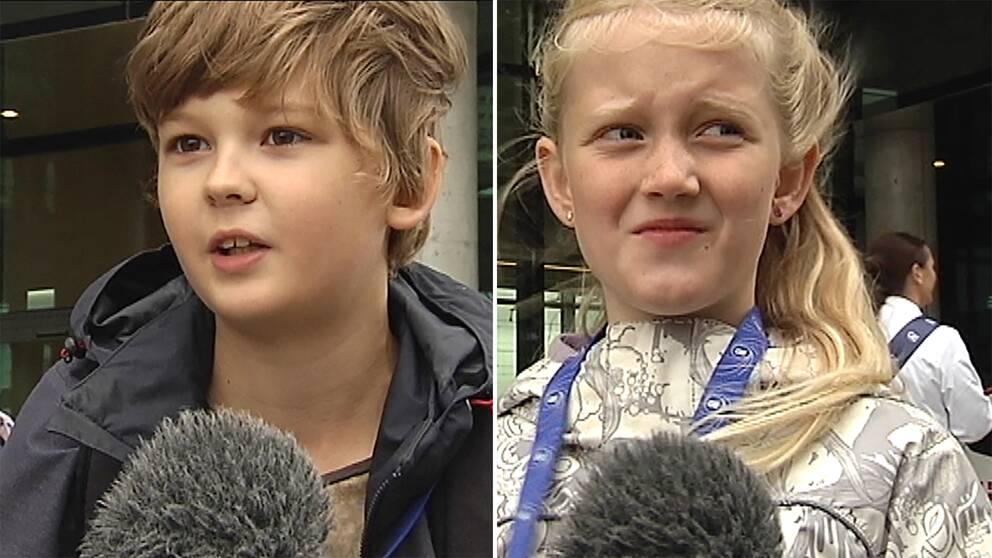 dubbelbild: porträtt på pojke och flicka