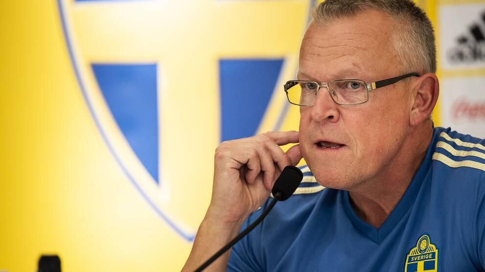 Sveriges förbundskapten Janne Andersson under en presskonferens.
