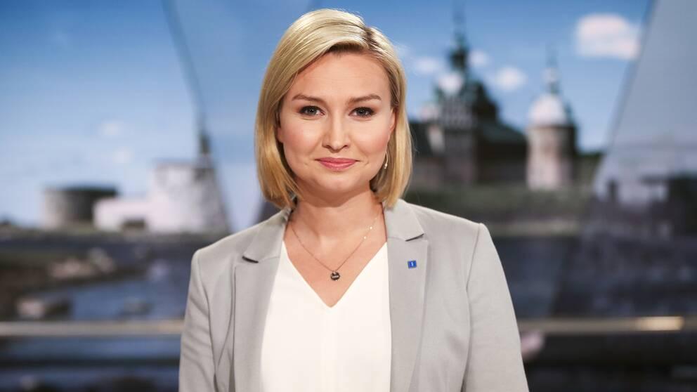 Kristdemokraternas partiledare Ebba Busch Thor (KD) under en paus i TV4:s partiledarutfrågning på måndagen.