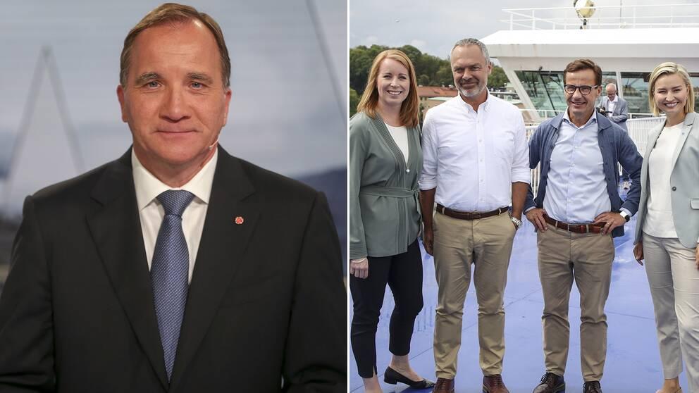 Delad bild: Först på statsminister Stefan Löfven (S) sedan en på samtliga partiledare i Alliansen.