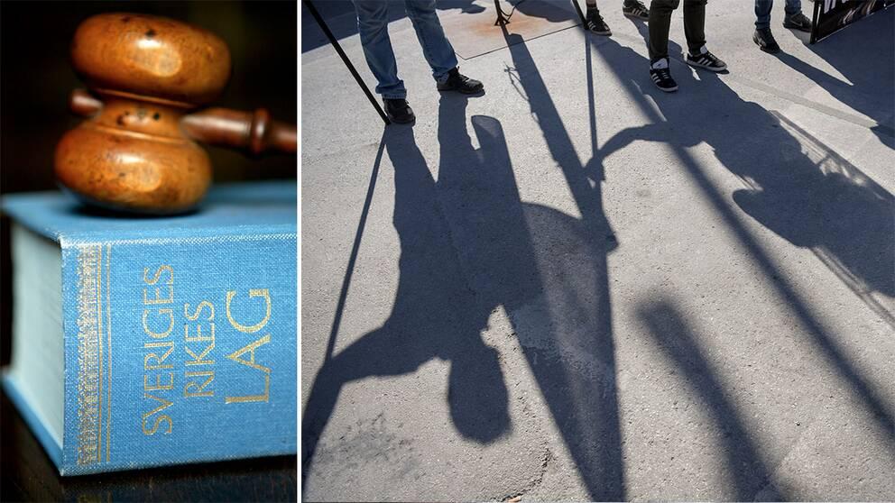 Lagbok och skuggor av medlemmar i Nordiska motståndsrörelsen