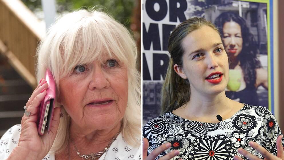 Skådespelaren Christina Schollin och Expressens ledarskribent Linda Holmlund.
