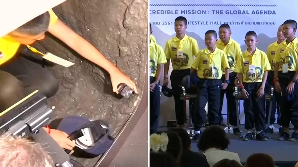 En av de pojkar som satt instängda i thailändska grottan kryper genom en replika av grottan. Till höger står några av de thailändska pojkarna på rad.