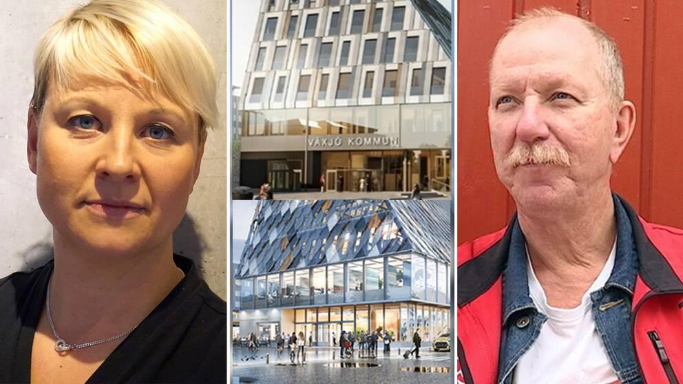 Anna Tenje (M) och Gunnar Storbjörk (S) är oense om det ny kommunhuset