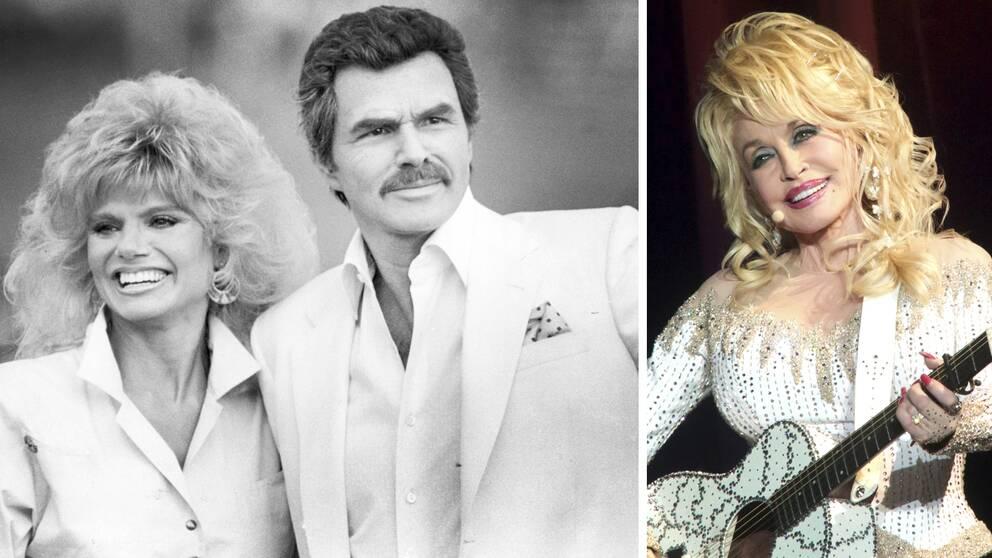 Skådespelaren Loni Andersson till vänster om Burt Reynolds – en av många som sörjer Reynolds bortgång är Dolly Parton (till höger)